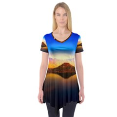 Crater Lake Oregon Mountains Short Sleeve Tunic