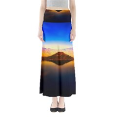 Crater Lake Oregon Mountains Full Length Maxi Skirt