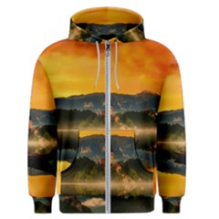 Bled Slovenia Sunrise Fog Mist Men s Zipper Hoodie