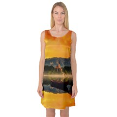 Bled Slovenia Sunrise Fog Mist Sleeveless Satin Nightdress