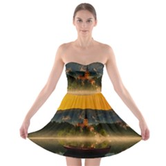 Bled Slovenia Sunrise Fog Mist Strapless Bra Top Dress