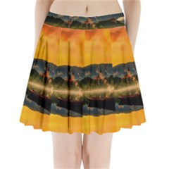 Bled Slovenia Sunrise Fog Mist Pleated Mini Skirt