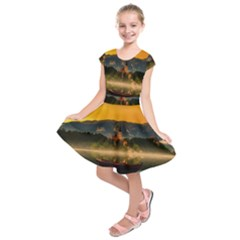 Bled Slovenia Sunrise Fog Mist Kids  Short Sleeve Dress
