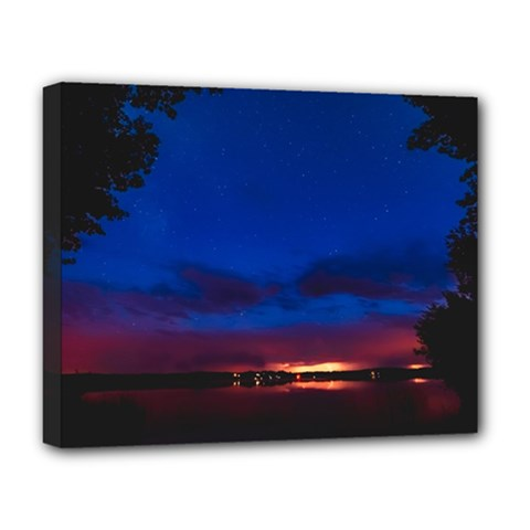 Canada Lake Night Evening Stars Deluxe Canvas 20  X 16