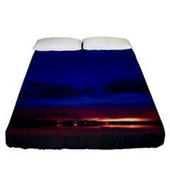 Canada Lake Night Evening Stars Fitted Sheet (queen Size)
