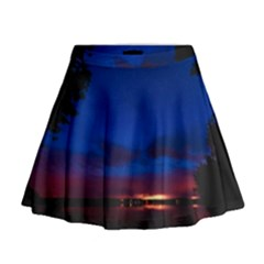 Canada Lake Night Evening Stars Mini Flare Skirt