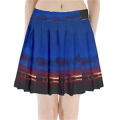 Canada Lake Night Evening Stars Pleated Mini Skirt