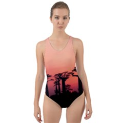 Baobabs Trees Silhouette Landscape Cut Out Back One Piece Swimsuit