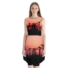 Baobabs Trees Silhouette Landscape Sleeveless Chiffon Dress