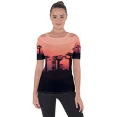 Baobabs Trees Silhouette Landscape Short Sleeve Top
