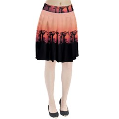 Baobabs Trees Silhouette Landscape Pleated Skirt