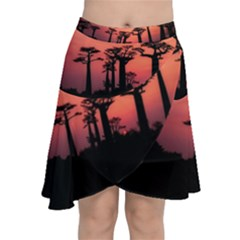 Baobabs Trees Silhouette Landscape Chiffon Wrap