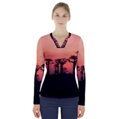 Baobabs Trees Silhouette Landscape V Neck Long Sleeve Top
