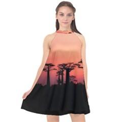 Baobabs Trees Silhouette Landscape Halter Neckline Chiffon Dress