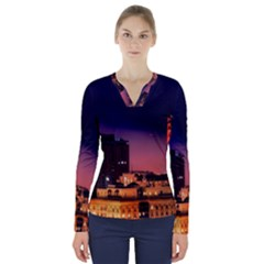 San Francisco Night Evening Lights V Neck Long Sleeve Top