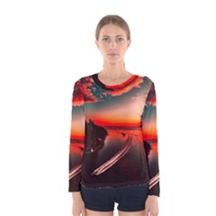 Sunset Dusk Boat Sea Ocean Water Women s Long Sleeve Tee
