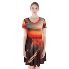 Sunset Dusk Boat Sea Ocean Water Short Sleeve V Neck Flare Dress