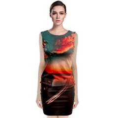 Sunset Dusk Boat Sea Ocean Water Classic Sleeveless Midi Dress by BangZart