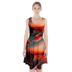Sunset Dusk Boat Sea Ocean Water Racerback Midi Dress