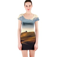 Landscape Mountains Nature Outdoors Short Sleeve Bodycon Dress