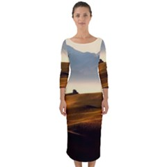 Landscape Mountains Nature Outdoors Quarter Sleeve Midi Bodycon Dress