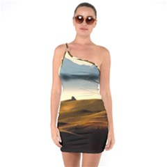 Landscape Mountains Nature Outdoors One Soulder Bodycon Dress