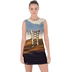 Landscape Mountains Nature Outdoors Lace Up Front Bodycon Dress