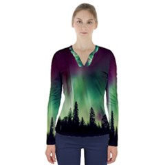 Aurora Borealis Northern Lights V Neck Long Sleeve Top