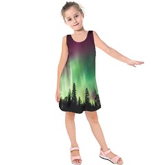 Aurora Borealis Northern Lights Kids  Sleeveless Dress