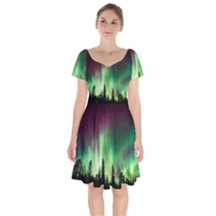 Aurora Borealis Northern Lights Short Sleeve Bardot Dress
