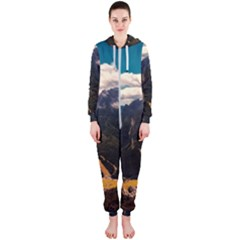 Italy Valley Canyon Mountains Sky Hooded Jumpsuit (ladies)