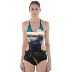 Italy Valley Canyon Mountains Sky Cut Out One Piece Swimsuit