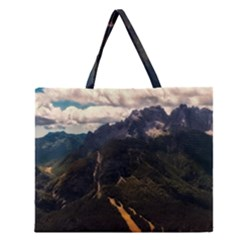 Italy Valley Canyon Mountains Sky Zipper Large Tote Bag