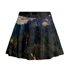 Italy Valley Canyon Mountains Sky Mini Flare Skirt