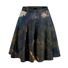 Italy Valley Canyon Mountains Sky High Waist Skirt