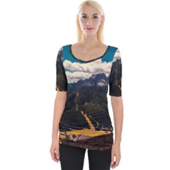 Italy Valley Canyon Mountains Sky Wide Neckline Tee