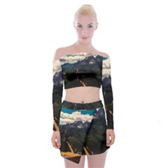 Italy Valley Canyon Mountains Sky Off Shoulder Top With Mini Skirt Set