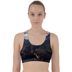 Italy Valley Canyon Mountains Sky Back Weave Sports Bra