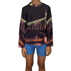 Budapest Hungary Liberty Bridge Kids  Long Sleeve Swimwear