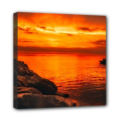 Alabama Sunset Dusk Boat Fishing Mini Canvas 8  X 8