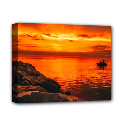 Alabama Sunset Dusk Boat Fishing Deluxe Canvas 14  X 11  by BangZart