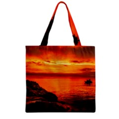Alabama Sunset Dusk Boat Fishing Grocery Tote Bag