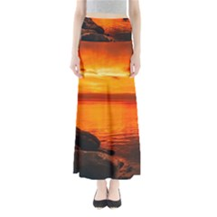 Alabama Sunset Dusk Boat Fishing Full Length Maxi Skirt