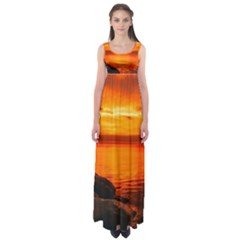 Alabama Sunset Dusk Boat Fishing Empire Waist Maxi Dress