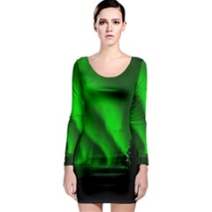 Aurora Borealis Northern Lights Long Sleeve Bodycon Dress