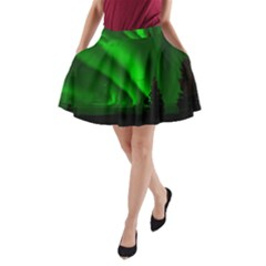 Aurora Borealis Northern Lights A Line Pocket Skirt