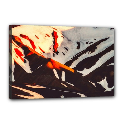 Iceland Landscape Mountains Snow Canvas 18  X 12  by BangZart