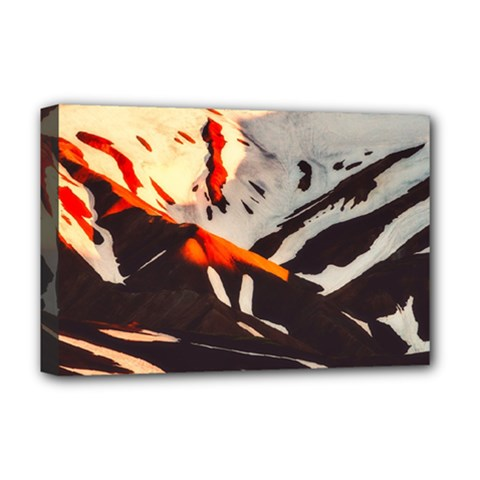 Iceland Landscape Mountains Snow Deluxe Canvas 18  X 12