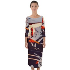 Iceland Landscape Mountains Snow Quarter Sleeve Midi Bodycon Dress