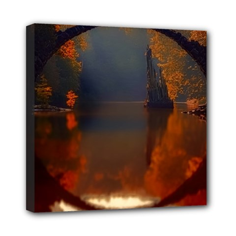 River Water Reflections Autumn Mini Canvas 8  X 8